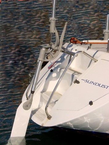 A Neptune self steering windvane mounted on the back of a yacht