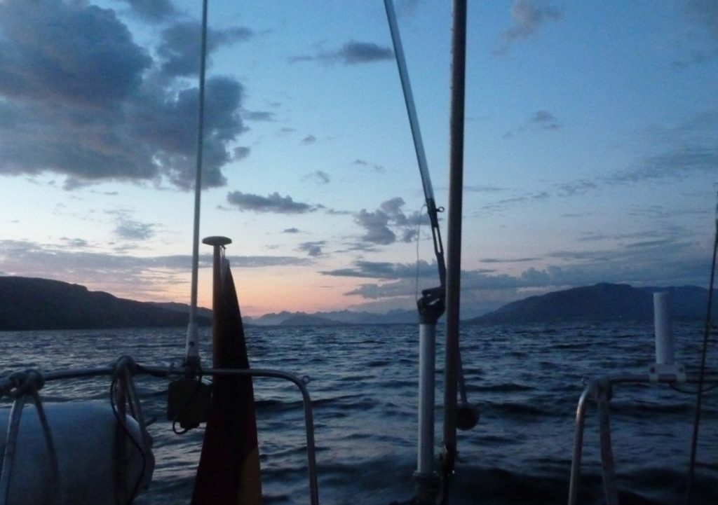A sunset while under sail with a Neptune yacht self steering windvane
