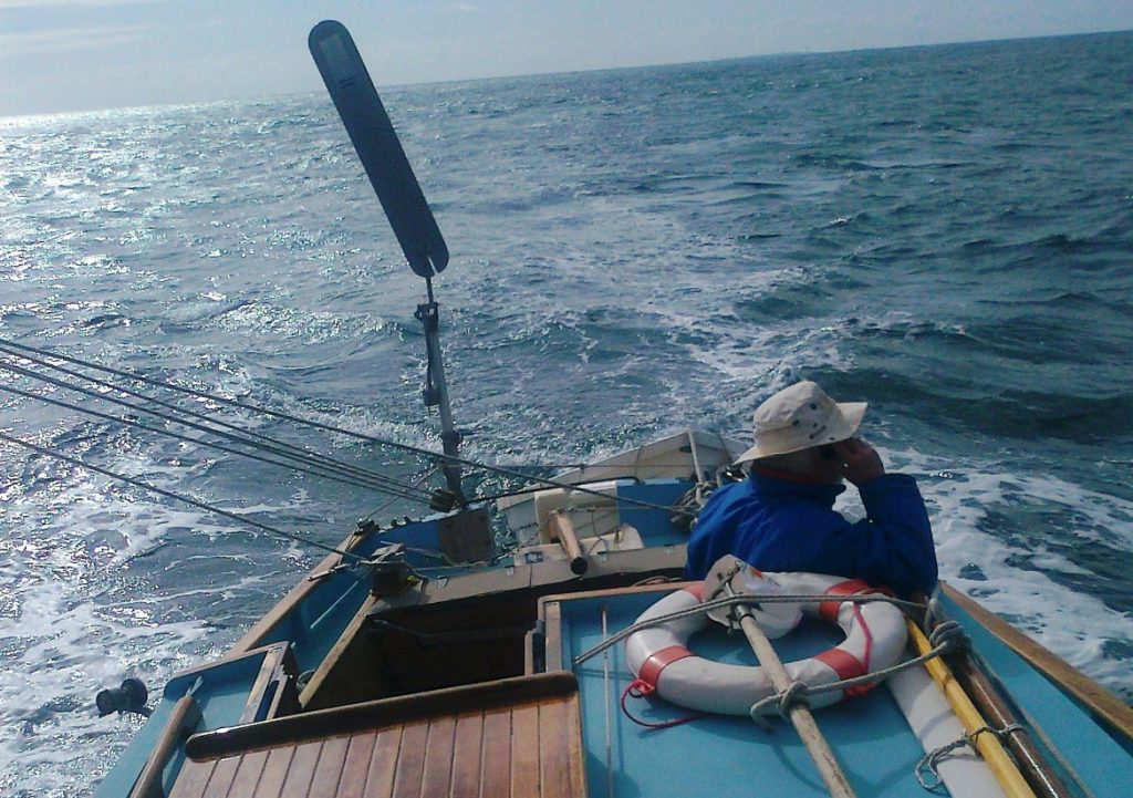 On whatch while being sailed by a Neptune sailboat self steering windvane