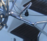 The Stainless Steel Fully Adjustable Standard Duty Mount used on the Neptune sailboat self steering windvane