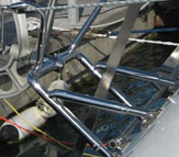 The Stainless Steel Fully Adjustable Heavy Duty Mount used on the Neptune sailboat self steering windvane